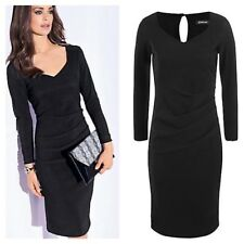 Kaleidoscope Plus Size 22 Black Sweetheart Ribbed DRESS Versatile Flattering £85