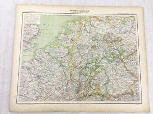 1898 French Map of Central Europe European States 19th Century Antique