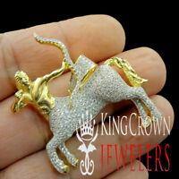 Unisex 10K Yellow Gold Silver Zodiac Sign Sagittarius Pendant Simu Diamond Charm