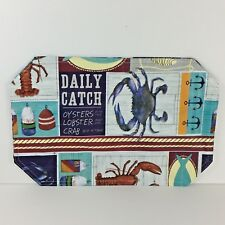 Coastal Vinyl PlaceMats Set of 2 Lobster Crab Daily Catch Summer Nautical Home