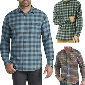 Dickies Shirt Mens Relaxed Fit Icon Long Sleeve Flannel Cotton Plaid Shirt WL601