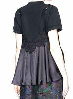 Sacai Japan. Black Cotton Lace Camisole  Knit Top