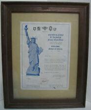 DIPLÔME médaille of LIBERTY 1ère classe France - Etats-Unis