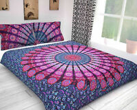 Pink Purple Mandala Bedding Flat Bed Sheets Cotton King Size Bedspread Bed Set