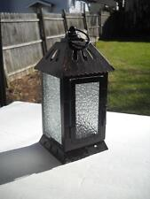 "Candle Lantern Standing 8"" Tall And Measuring 3-12"" Square - Pebbled Glass"