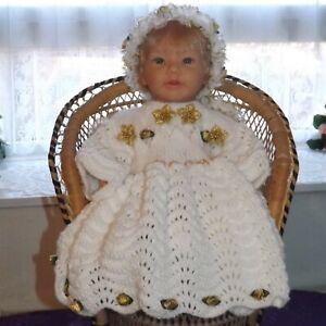 Hand Knit, white 'Christmas Angel' dress, headband & shoes, 0-6 months, NWOT