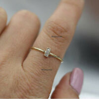 Genuine 0.05 Ct Pave Diamond Bar Ring Solid 14k Yellow Gold Minimalist Jewelry