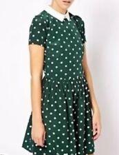 River Island Green White Polka Dot Spot Peter Pan Collar Cosplay Skater Dress 14