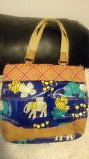 Fossil Key- Per Shoulder Handbag Vinyl Coated Canvas, multi color, Elephants