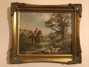 Horse And Hounds Hunting Oil Painting Signed H Taylor In Lovely Frame