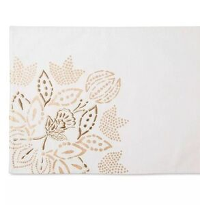 Threshold White with Gold Floral Placemats Set Of 4 NWOT