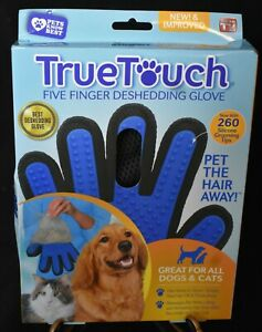 New! True Touch Deshedding Glove for Dogs & Cats Massages/lifts Top & under coat