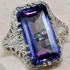 925 Sliver Jewelry Men Women Fashion Blue Sapphire Engagement Ring Size 6-10