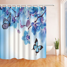 Butterfly and orchid Shower Curtain Bathroom Decor Fabric & 12hooks 71*71inches