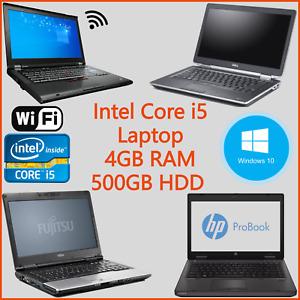 "Dell HP Fujitsu Windows 10 14"" 15"" Laptop Intel Core i5 2nd 4GB RAM 320GB WiFi"