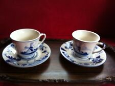 Dutch Delft Blue Porcelain Hand painted 2 Tea Cups & Saucers