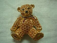 Signed Swarovski Gold Pave Crystal Teddy Bear Brooch Pin ~ Adorable! Look!