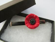 Red & Black Remembrance Poppy Flower Tie Pin Slide - Handmade - Gift Boxed