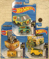 Lot of 3 Hot Wheels TMNT Party Wagon Ninja Turtles, Minecraft, Mystery Machine