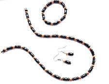 Hematite Necklace, Earrings & Bracelet Set - Magnetic Fastener - New & Sealed