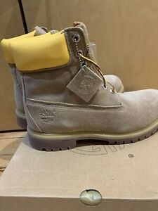 """MARK MCNAIRY TIMBERLAND 6"""" premium suede boots 9.5 beige yellow NWT"""