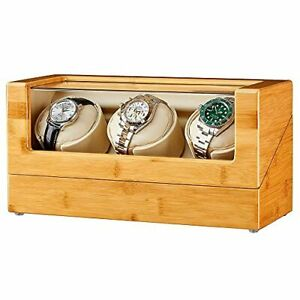 GEEBOX Watch Winder for 3 Watches, Bamboo Wood Watch Winder Box for Automatic