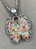 "Vintage Necklace Pendant Pastel Glass rhinestone butterfly  Silver Tone 26"" Long"