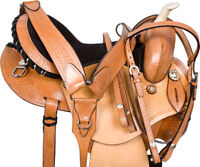 USED NATURAL LEATHER ROUNDSKIRT WESTERN BARREL RACING HORSE SADDLE TACK 14 15