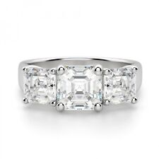 Clarity VVS1 2.40 Ct Asscher Cut Engagement Ring 14K Real White Gold Size M N