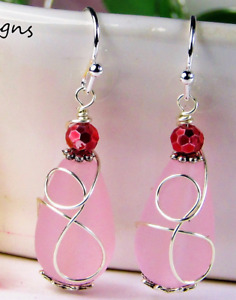SEA GLASS Teardrop Pink Loop Swirl SILVER Dangle Earrings USA HANDMADE