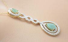 Markenlose Echte Edelstein-Halsketten & -Anhänger mit Smaragd und Tropfen