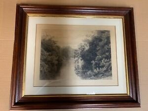 David Law etching, Signed. Mahogany frame