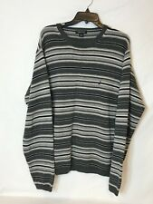 Nautica Men's Size Large Grey Striped 100% Cotton Long Sleeve Sweater