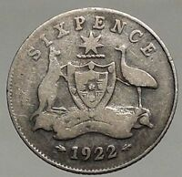 1922 AUSTRALIA - SIXPENCE Antique SILVER Coin King George V Coat-of-Arms i57084