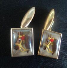 Vintage Horse Cufflinks - Racing / Hunting / Equestrian - Essex Crystal Style