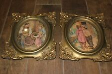 "Vintage Pair of Gold Plaster Frames w Oval Prints. Large & Heavy! 12"" x 14"". Vgc"