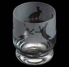 Dartington Crystal tumbler hare etched Aspect glass