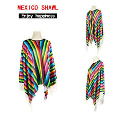 Poncho Mexican Wild West Bandit Stag Do Adult Mens Cowboy Fancy Dress Costume UK