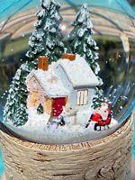 Christmas Cabin Snow Globe Water Dome Musical  SILENT NIGHT Santa Home Decor New