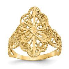 Genuine 14k Yellow Gold Diamond Cut Filigree Ring  2.70 gr