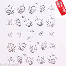 Nail Art Water Decals Stickers Halloween Silver Spider Spiders Web GEL Polish