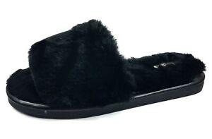 Women's Fluffy Fuzzy Slippers Open Toe Cozy Slides Soft Flat Comfy Slip On