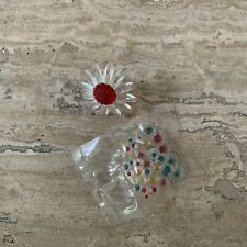 Swarovski Crystal Red Marguerite Daisy with Mini Flowers