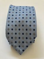 Emmett 100% Silk tie pale blue with floral pattern, handmade in Italy