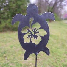 Metal Turtle Garden Stake - Steel Gardening Decor - Hawaii Hibiscus Flower Yard