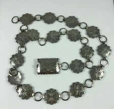 Vintage Silver Plate Chain Link Belt Engraved Flower Scalloped Round Links