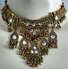 Golden Kuchi Tribal Earring Gypsy Belly Dance Choker Necklace Set Sari Jewelry
