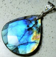 Handcrafted Faceted Labradorite .925 Sterling Silver Pendant Bead 58mm x 32mm (F
