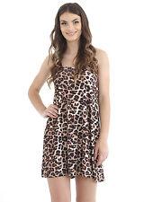 Ladies Women Sleeveless Print Plain Camisole Swing Flared Dress Vest Top t-shirt