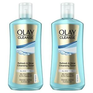 2 x Olay Cleanse Refresh & Glow Cleansing Toner - Cleanses Soothes & Primes Skin